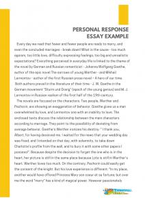 personal response essay example