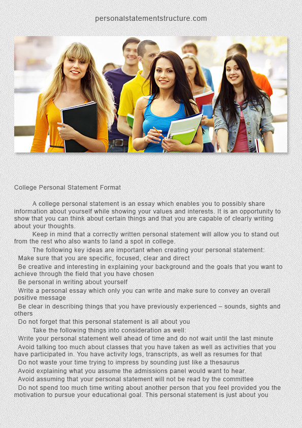 how to format a personal statement for college Student services student services use the personal statement for either college admissions or scholarship when writing a personal statement, use standard.
