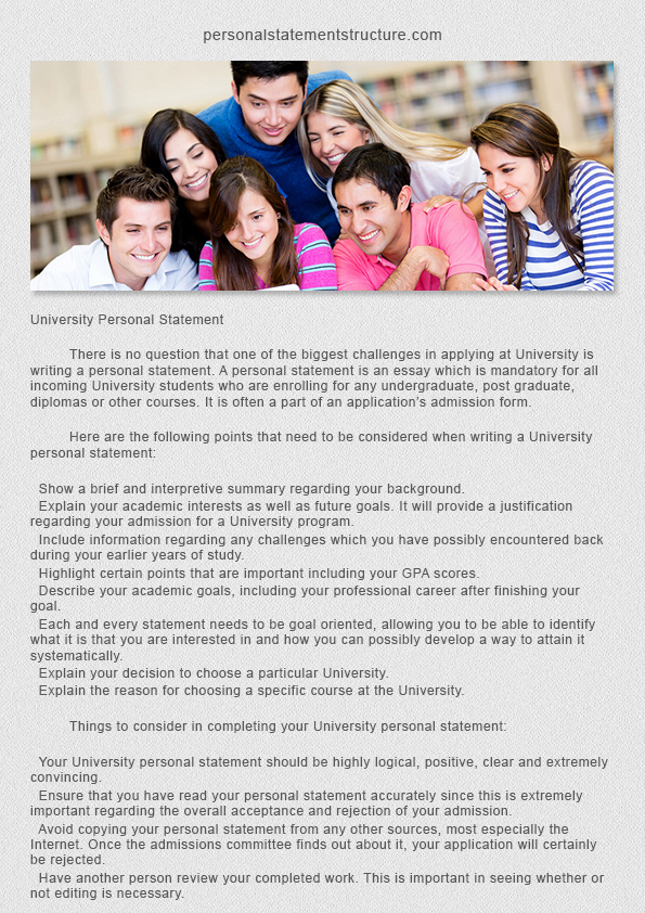 university personal statement structure