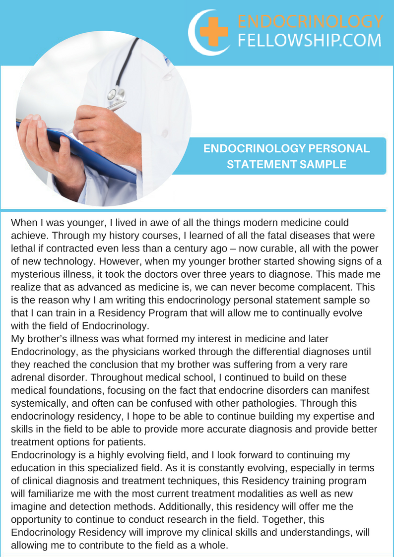 Endocrinology Personal Statement: Get Matched in 2019-2020